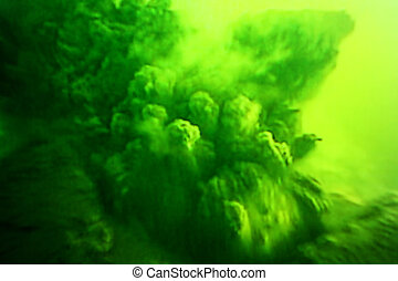 Noxious poisonous green gas clouds in the sky