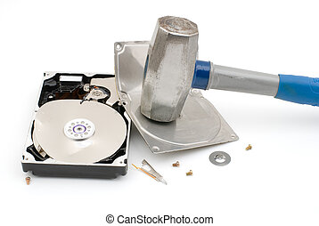 Destroying hard disk drive - Hammer destroying hard disk...