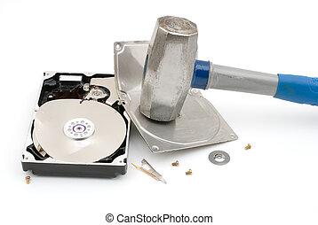 Destroying hard disk drive - Hammer destroying hard disk ...