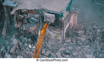Destroying Old Concrete House Using Mechanical Arm of ...