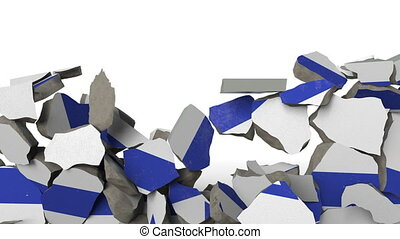 Destroying wall with painted flag of Israel. Israeli crisis conceptual 3D animation