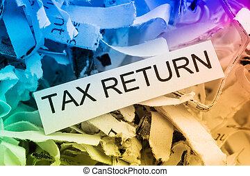destrozado, impuesto, papel, regreso