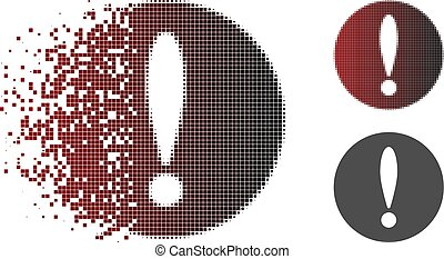 destrozado, pixelated, halftone, problema, icono