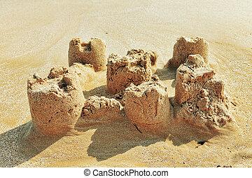 destruído, areia, praia., castelo