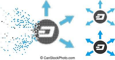 Destructed Dot Halftone Dash Coin Payout Arrows Icon - Dash...