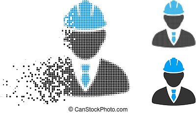 Destructed Dot Halftone Engineer Icon - Engineer icon in ...