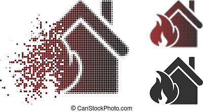 Destructed Dot Halftone Realty Fire Disaster Icon - Realty...