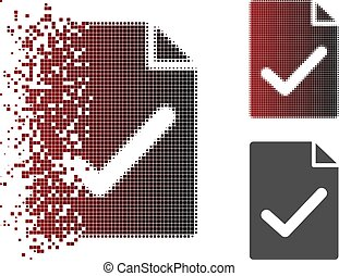 Destructed Dot Halftone Valid Agreement Page Icon