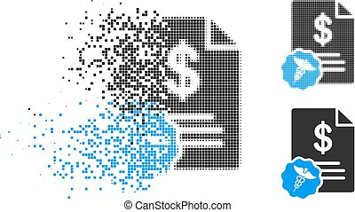 Destructed Dotted Halftone Bill Icon - Bill icon in ...
