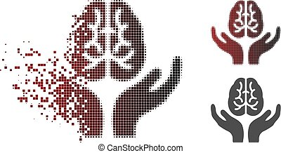 Destructed Dotted Halftone Brain Care Hands Icon