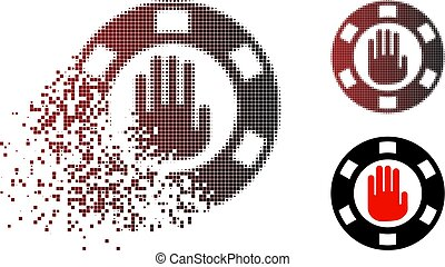 Destructed Dotted Halftone Stop Gambling Chip Icon