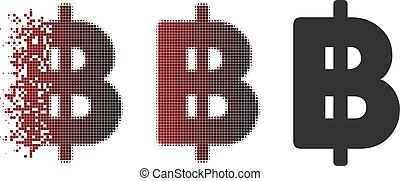 Destructed Dotted Halftone Thai Baht Icon - Thai Baht icon...