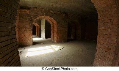 Destructed old brick structure exploration - Walk through ...