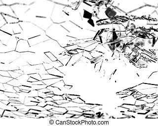Destructed or broken glass pieces on white background