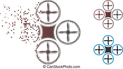 Destructed Pixel Halftone Air Drone Icon