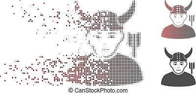 destructed, pixel, halftone, antico, guerriero, icona