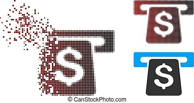 Destructed Pixel Halftone ATM Icon - Vector ATM icon in ...