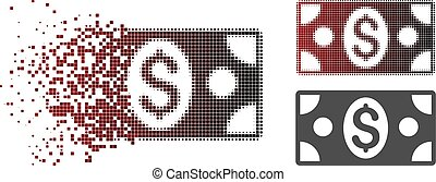 Destructed Pixel Halftone Banknote Icon