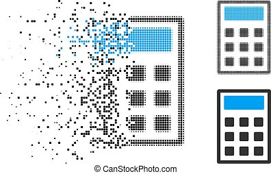 Disintegrating pixel halftone calculator icon  Vector