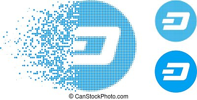 Destructed Pixel Halftone Dash Coin Icon - Dash coin icon in...