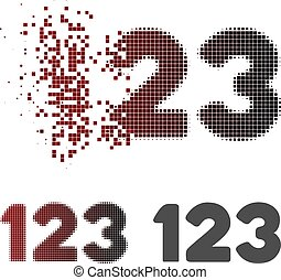 Destructed Pixel Halftone Digits Icon