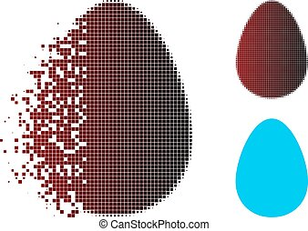 Destructed Pixel Halftone Egg Icon