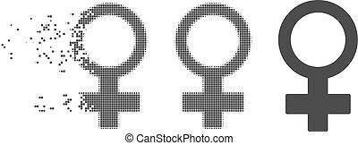 Destructed Pixel Halftone Female Symbol Icon