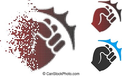 Destructed Pixel Halftone Fist Strike Icon