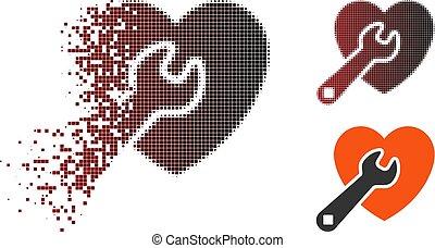 Destructed Pixel Halftone Heart Repair Icon