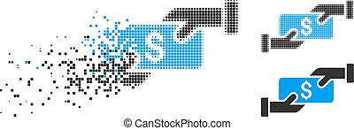 Destructed Pixel Halftone Payment Icon - Payment icon in ...