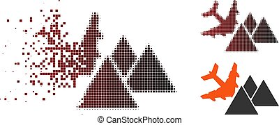 Destructed Pixel Halftone Piramides Airplane Crash Icon