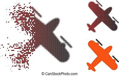 Destructed Pixel Halftone Screw Aeroplane Icon
