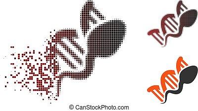 Destructed Pixel Halftone Sperm Replication Icon - Vector...
