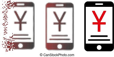 Destructed Pixel Halftone Yuan Mobile Payment Icon