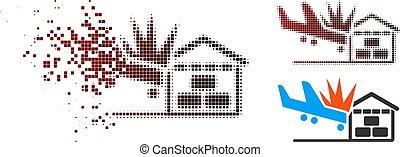 Destructed Pixelated Halftone Airplane Hangar Crash Icon
