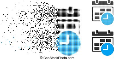 Destructed Pixelated Halftone Date And Time Icon - Date and...