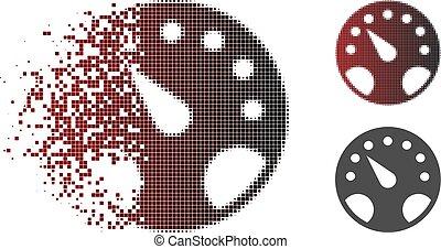 Destructed Pixelated Halftone Gauge Icon - Gauge icon in ...