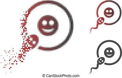 Destructed Pixelated Halftone Happy Sperm Insemination Icon...
