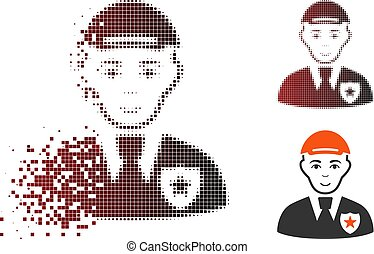 Destructed Pixelated Halftone Police Officer Icon with Face