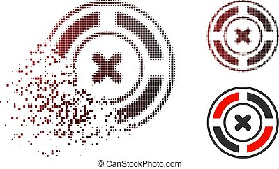 Destructed Pixelated Halftone Roulette Icon - Roulette icon ...
