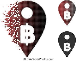 Destructed Pixelated Halftone Thai Baht Map Marker Icon -...