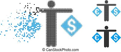 Destructed Pixelated Halftone Trader Icon - trader icon in ...