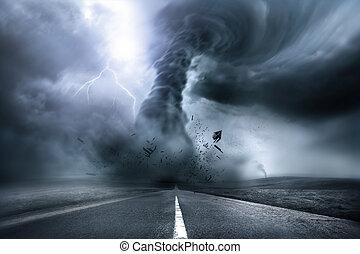 destructeur, puissant, tornade