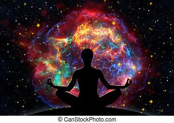 Destruction - Female yoga figure against universe background...