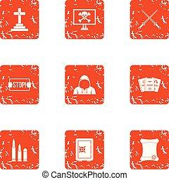 Destruction icons set, grunge style - Destruction icons set....