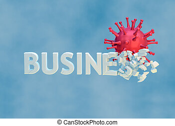 Destruction, negative impact of ?OVID-19 on business. 3d ...