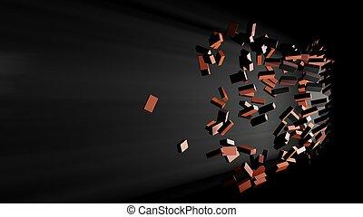 Destruction of a brick wall. Volume light