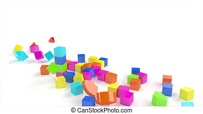 Destruction of a toy building made of colored cubes.