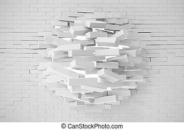 Destruction of a white brick wall. 3d illustration