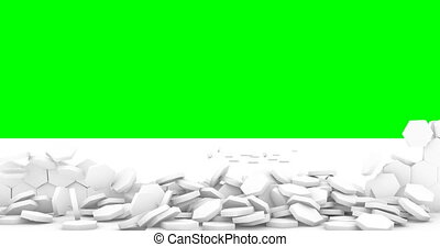 Destruction of a white wall on a green background